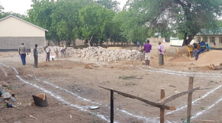 Demarcation and setting of the new Dining Hall ready for the foundation